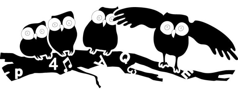 vier Eulen (in schwarz-weiss)